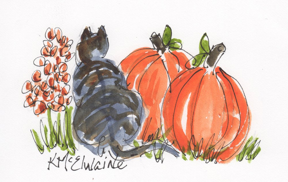 Oct 11 and 12 How to Watercolor Paint  Black Cat and a Pumpkin AN115 Zoom Class