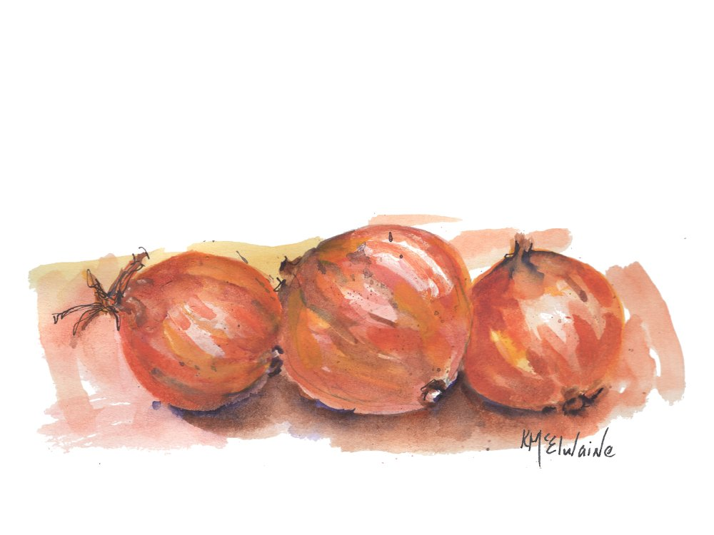 Oct 25 and 26 How to Watercolor Paint Onions for Thanksgiving FA075 Zoom Class