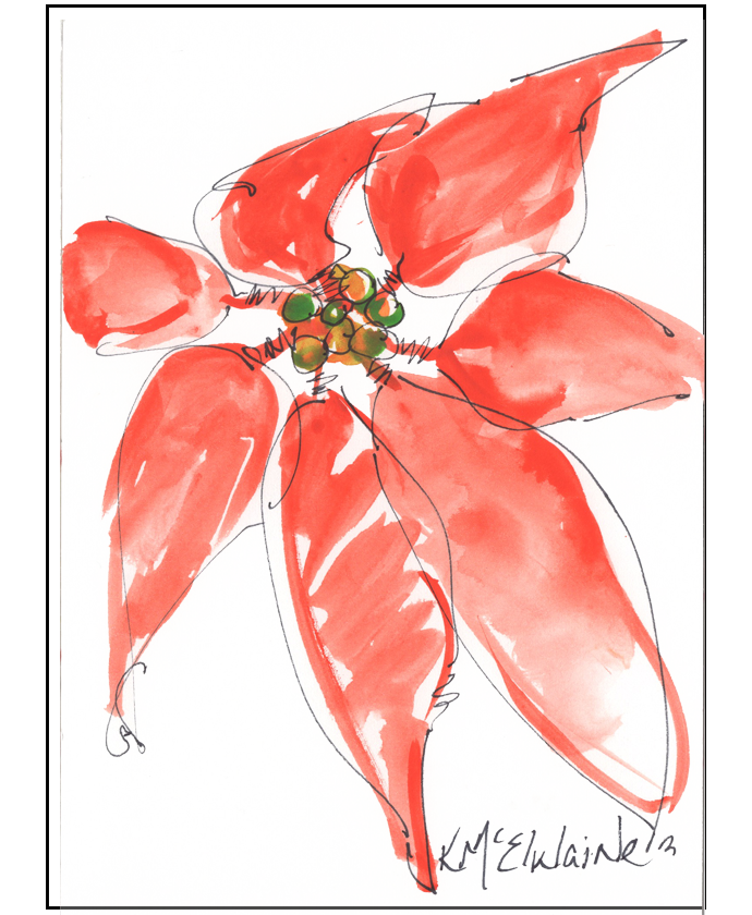 How to Watercolor Poinsettia FA085 4x5 Zoom Class