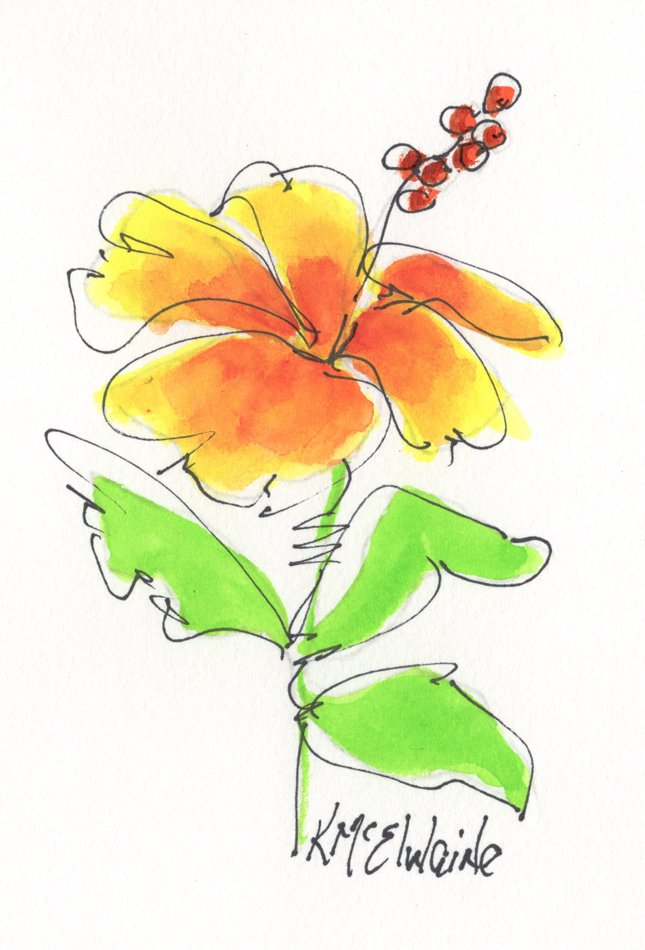 Beginners 5th Watercolor Painting Video Class Hibiscus FL092