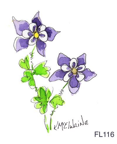 Beginners 2nd Watercolor Class How to Watercolor Paint Colorado Columbine FL116 Pattern and Video