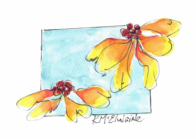 Beginners 4th Watercolor Painting Video Class Yellow Flowers Blue Background FL279