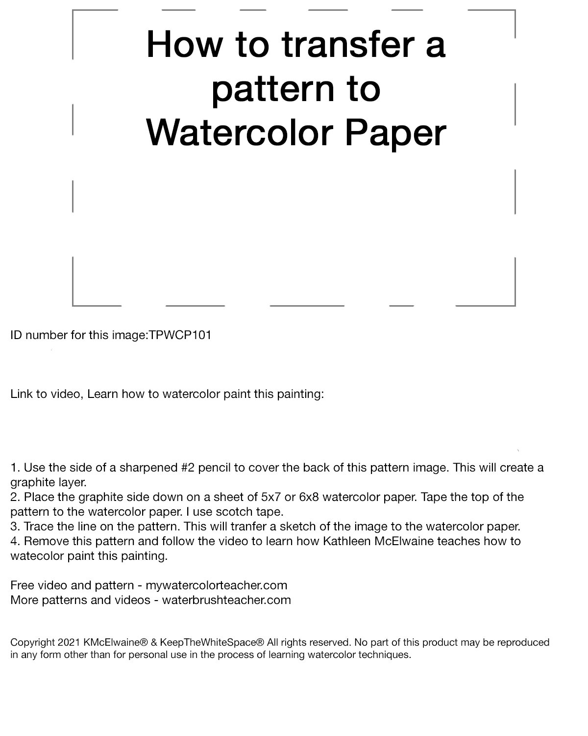 2nd How to transfer a pattern to watercolor paper TPWCP101