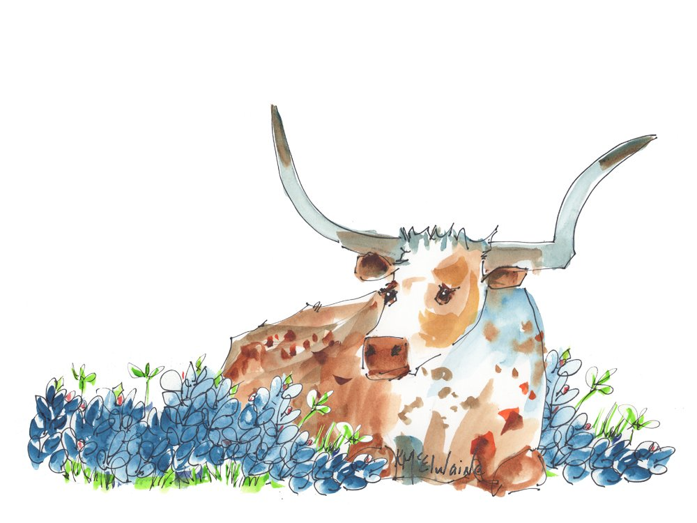 Bessie In the Bluebonnets 12x16  Paper Print