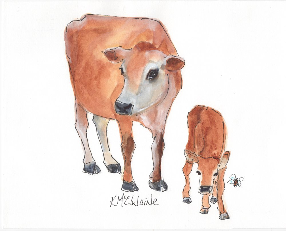 A Jersey Mama Cow Calf HoneyBee LH011 8x10 Watercolor Painting unframed by Kathleen McElwaine