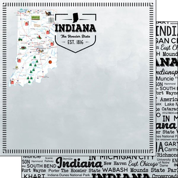 Indiana Postage Map