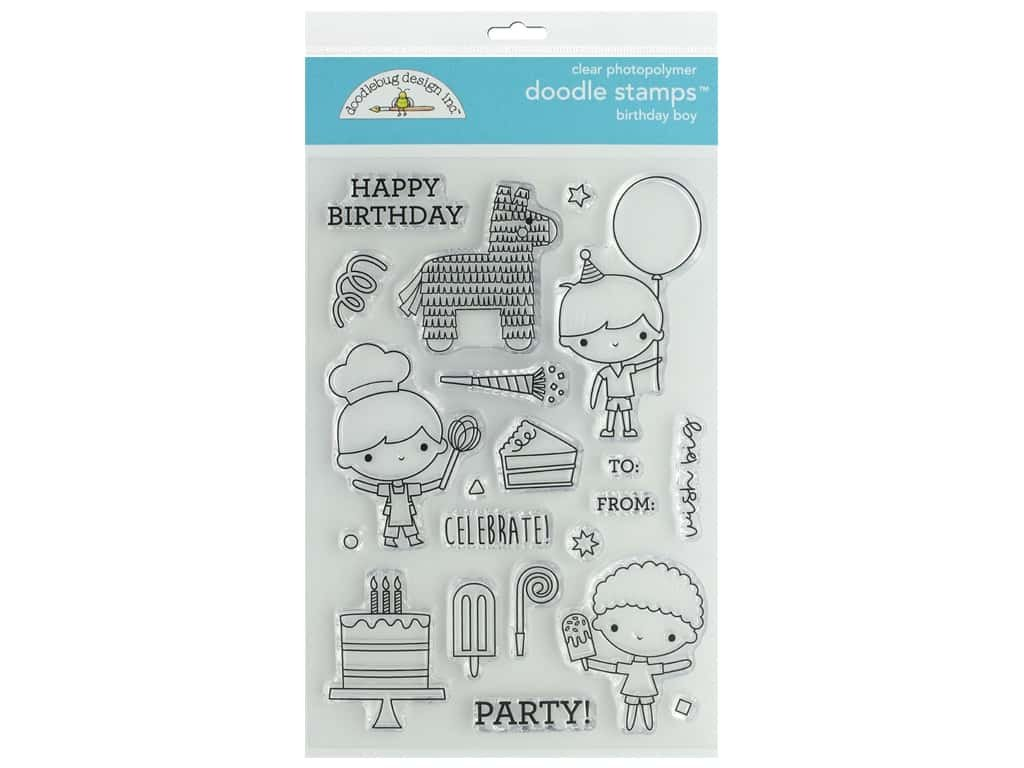 Doodlebug Clear Doodle Stamps-Birthday Boy, Party Time