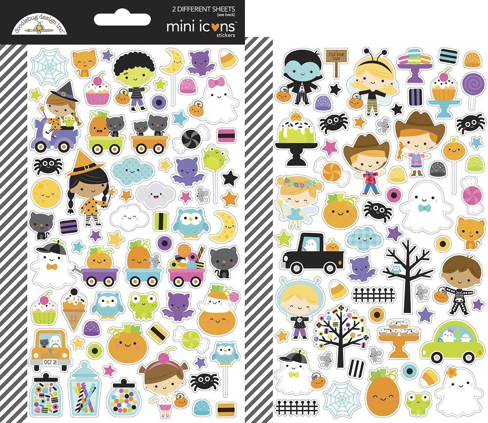 Dooblebug Mini Cardstock Stickers 2/Pkg-Ghost Town Icons