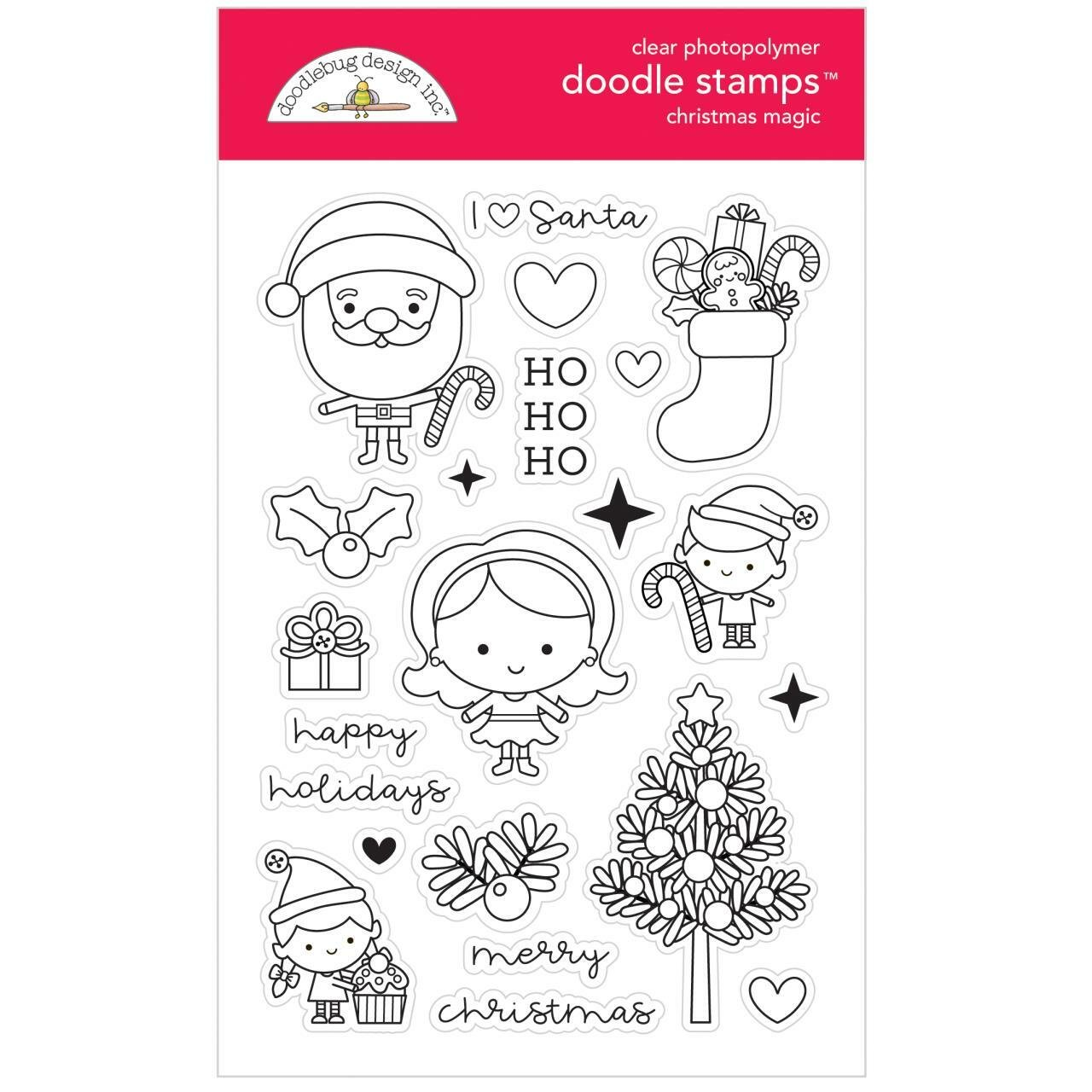 Doodlebug Clear Doodle Stamps-Christmas Magic
