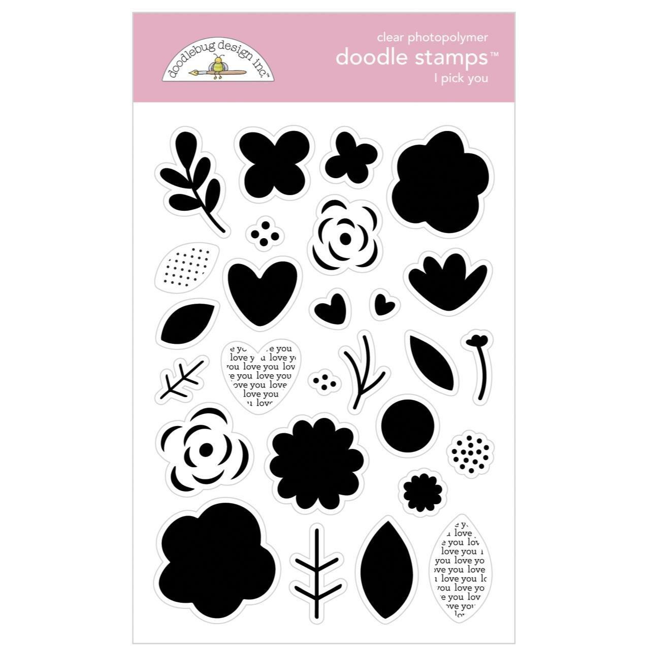 Doodlebug Clear Doodle Stamps-I Pick You, Love Notes