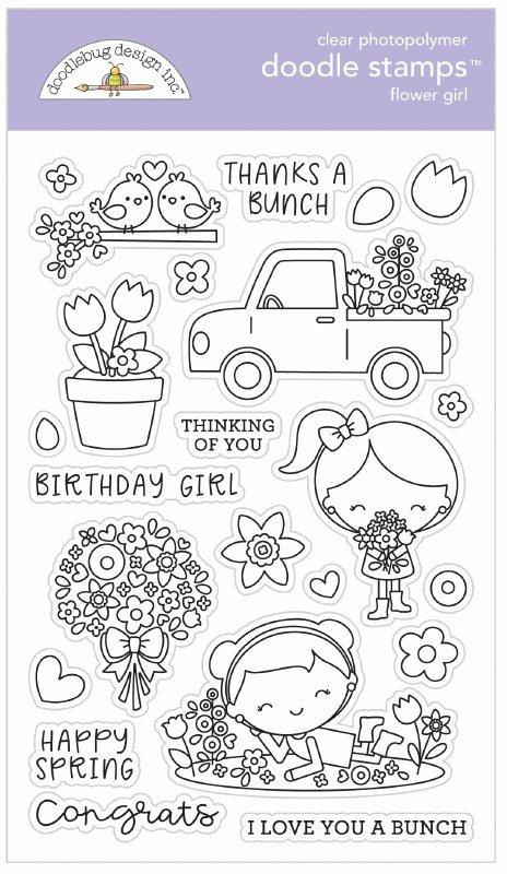 Doodlebug Clear Doodle Stamps-Flower Girl