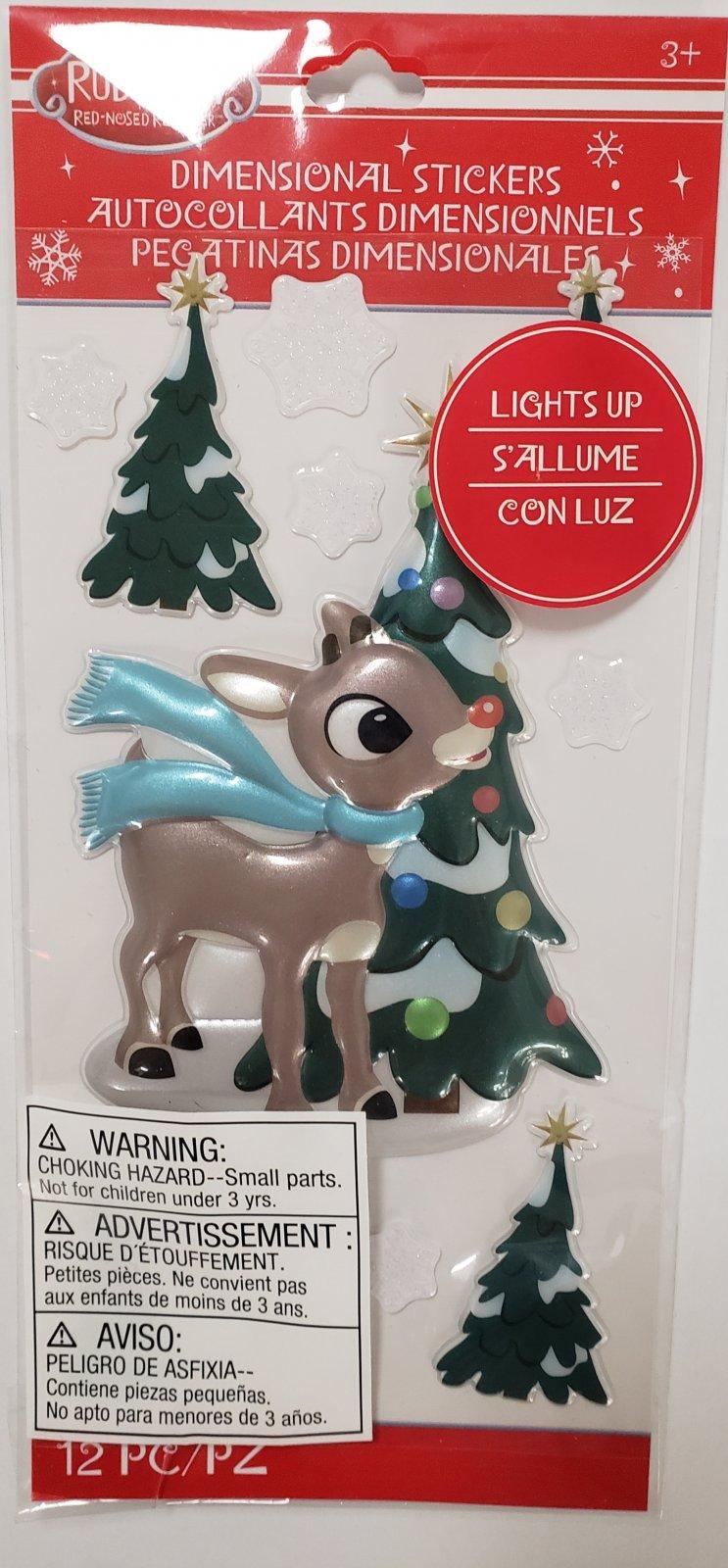 Christmas Rudolf Lights Up Stickers