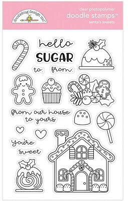 Doodlebug Clear Doodle Stamps-Santa's Sweets, Christmas Magic