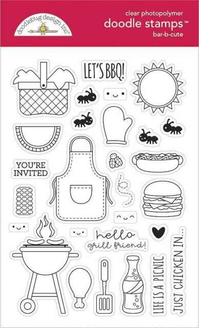 Doodlebug Clear Doodle Stamps-Bar-B-Cute