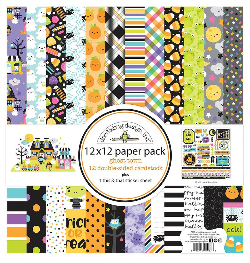 Doodlebug Double-Sided Paper Pack 12X12 12/Pkg-Ghost Town