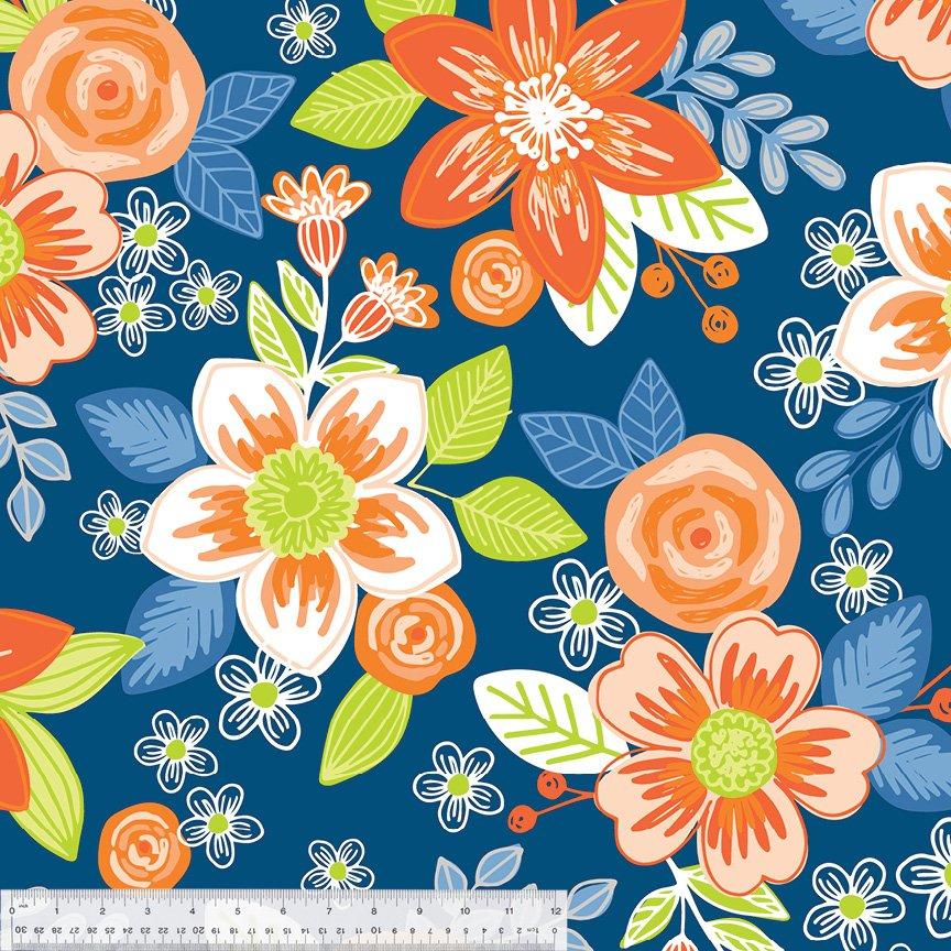 Orange Flowers on Blue