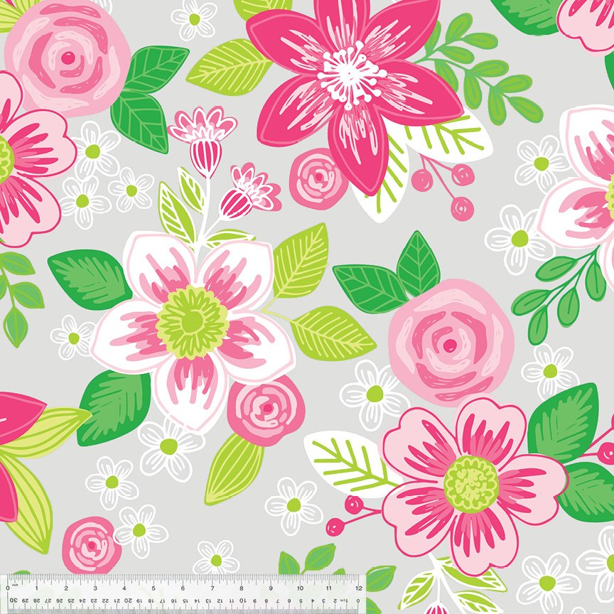 Pink Flowers on Grey