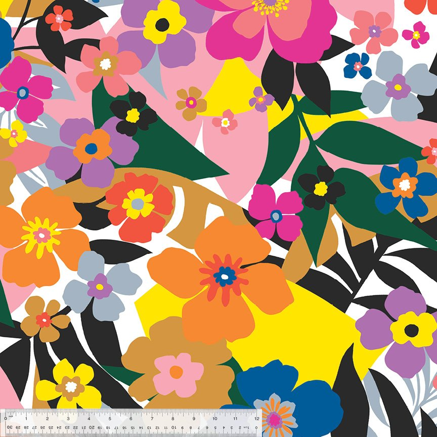 Multicolored Flowers on White