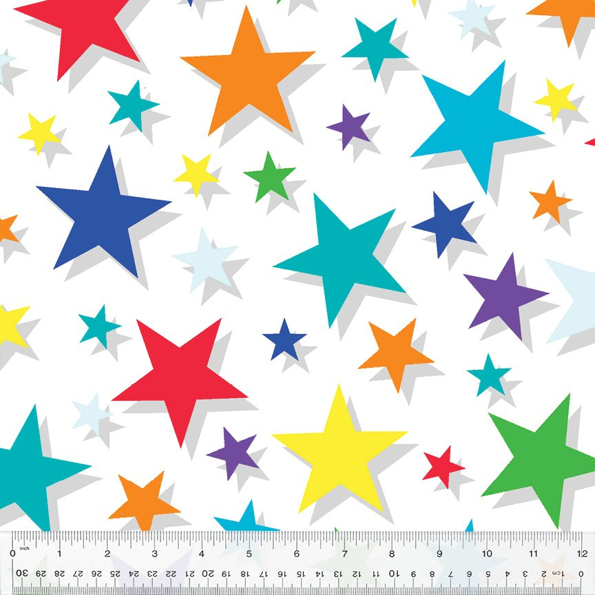 Multi colored Stars on White