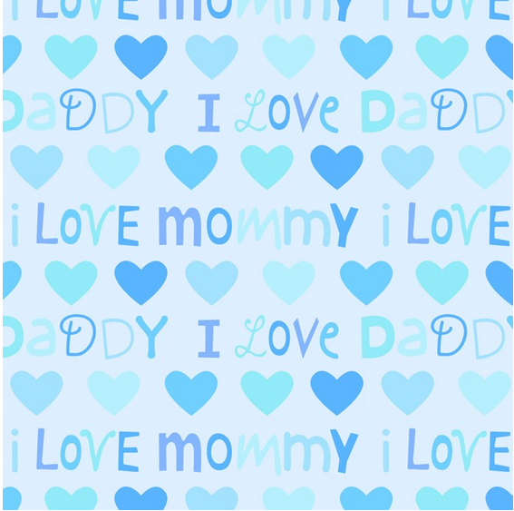 Mommy Daddy Love on Blue