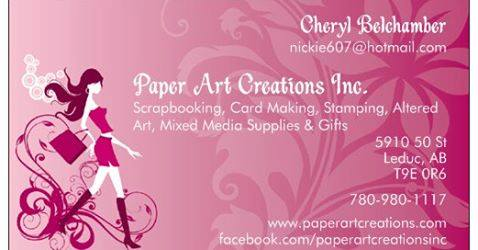 Paper Art Creations Business Card And Store Information