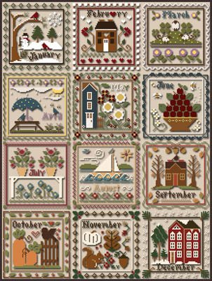 Months of the Year by Little House Needleworks - Counted Cross Stitch Pattern
