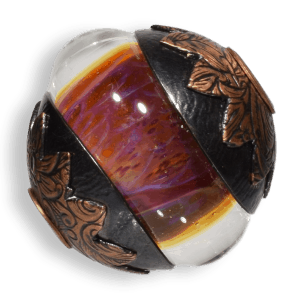 Autumn Warm Red Focal Glass Bead with Copper Caps