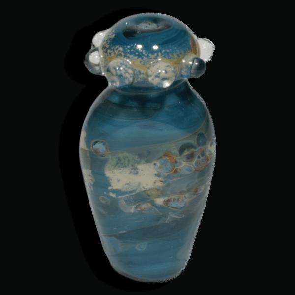 Teal Vessel Style Lampwork Glass Focal Bead