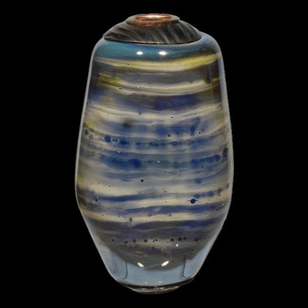 Silvery Green Blue Stripe Lampwork Glass Focal Bead