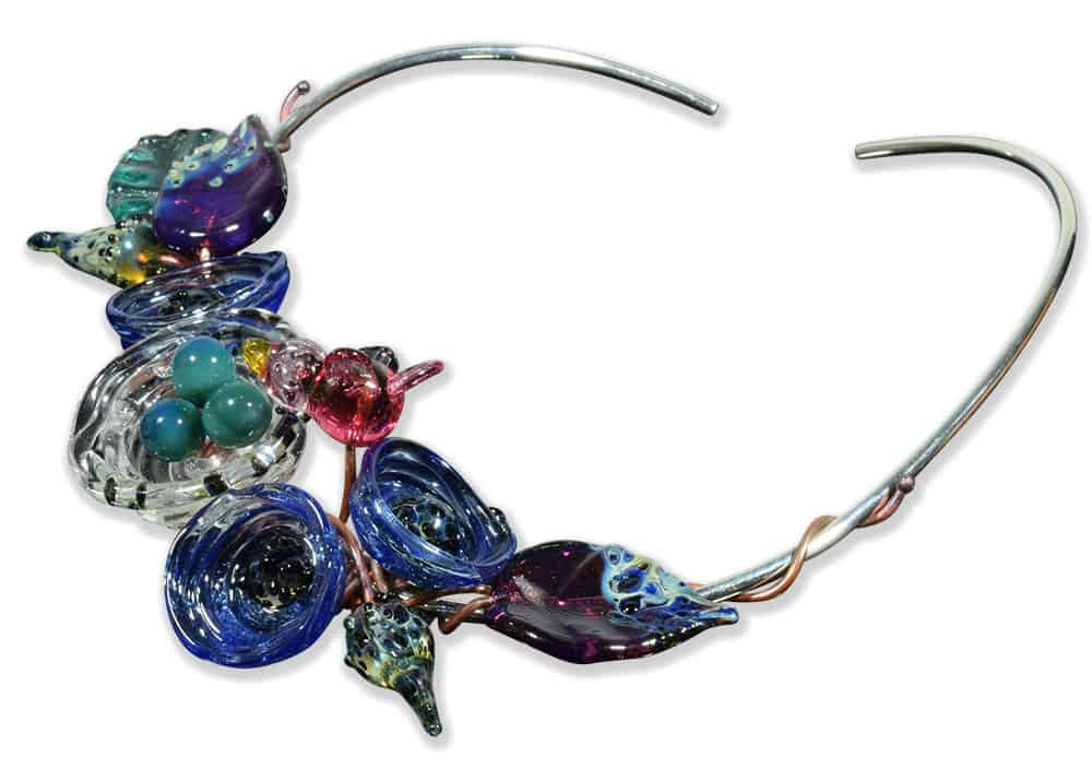 Custom Bird Watching Glass and Sterling Silver Choker Necklace