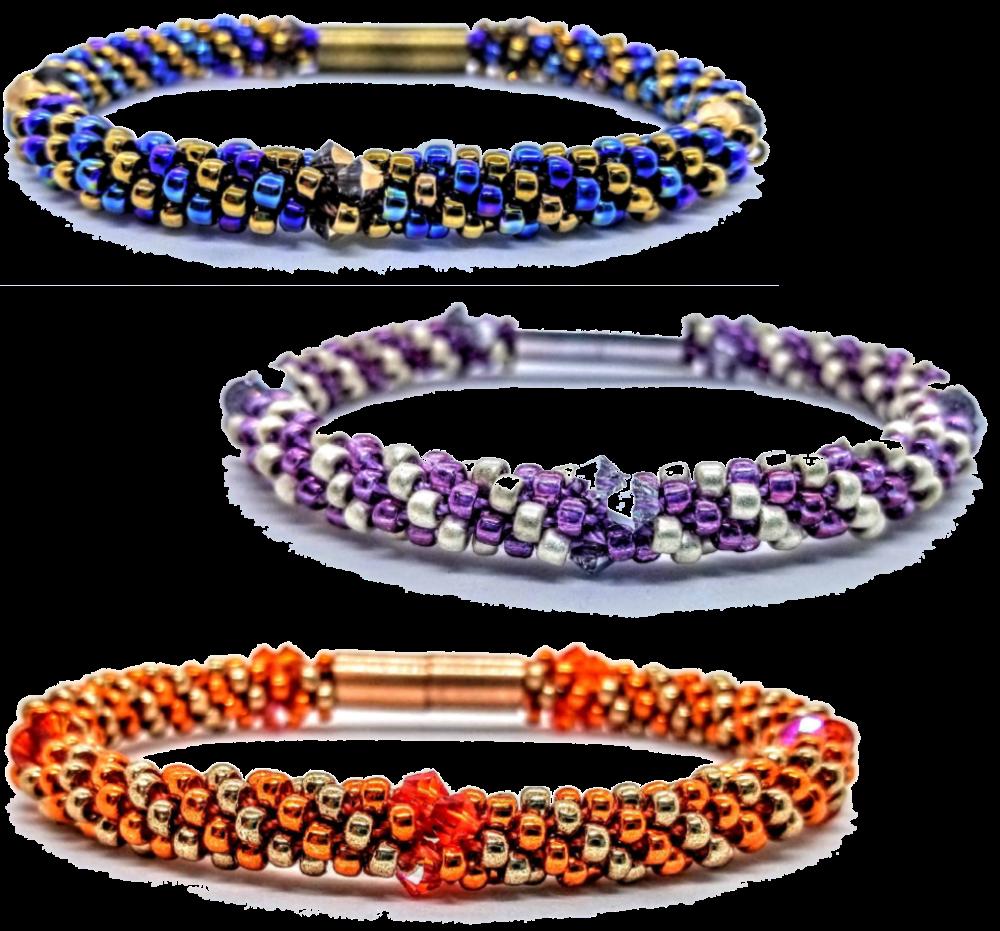 Kumihimo Bracelet with Swarovski Crystals