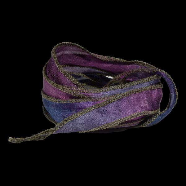 Silk Ribbon Purple edged with Sage
