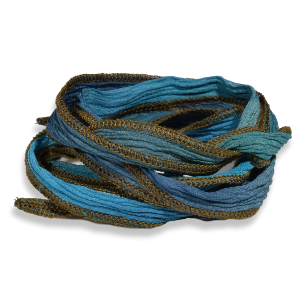 Silk Ribbon Teal edged with Sage