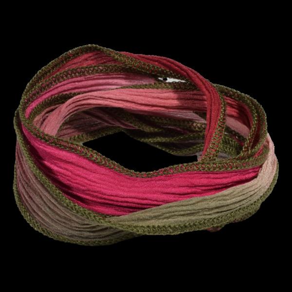 Silk Ribbon Magenta and Sage