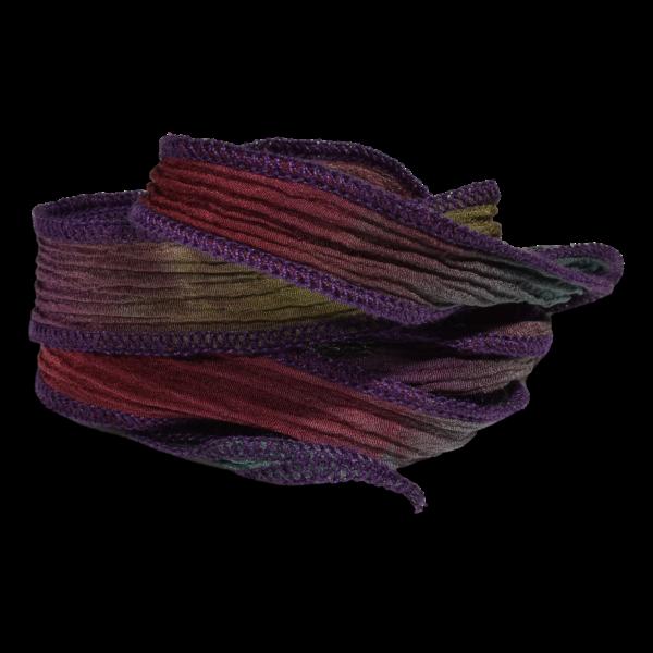 Silk Ribbon Crimson Rust and Sage