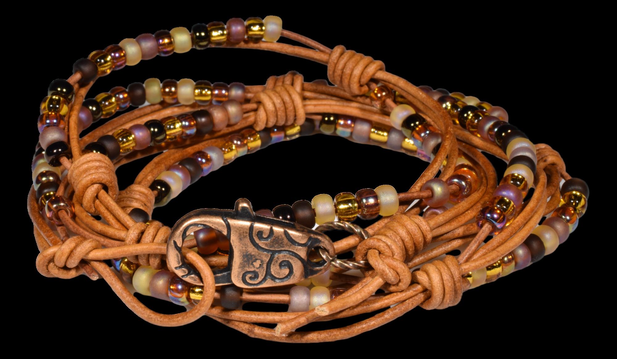 Multi Wrap Beaded Leather Bracelet