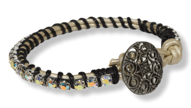 Leather and Sparkle Bracelet