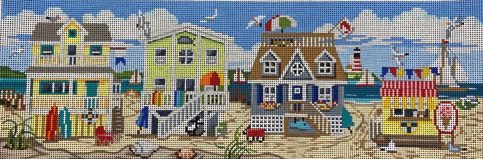 AP2727 Beach House Row Shoreline Alice Peterson