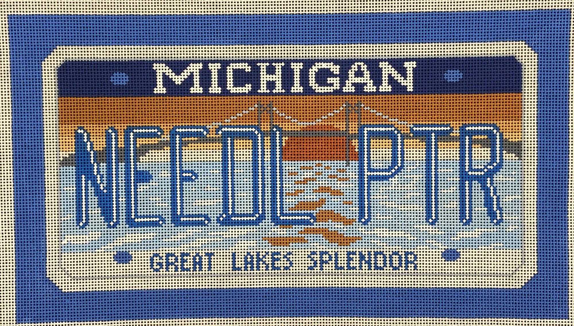SALP28 Michigan Needlepointer License Plate Pillow CBK Needlepoint