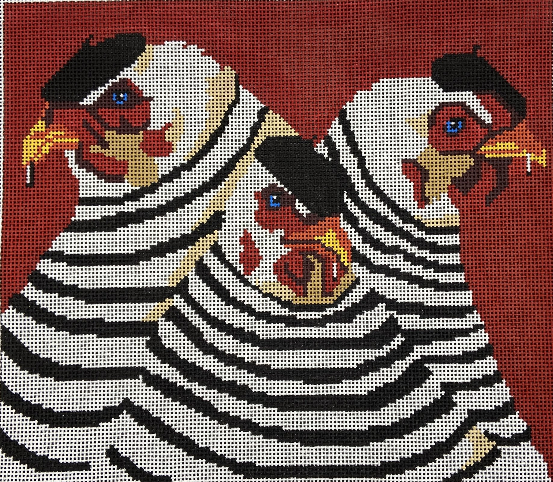 PL914 Three French Hens on Red