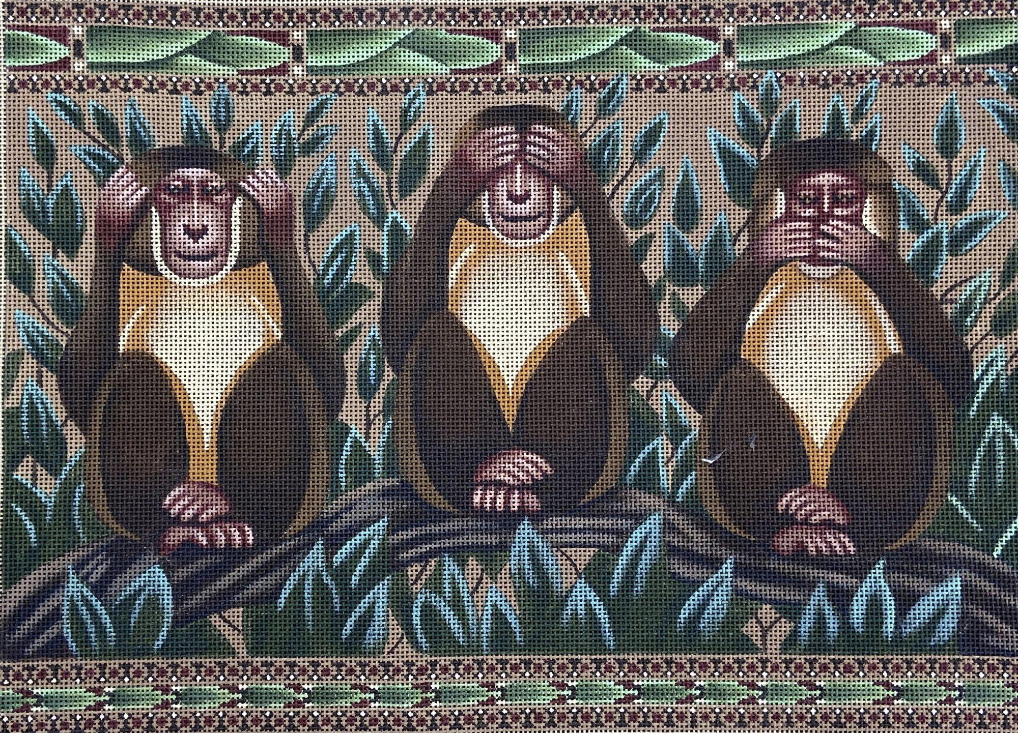 AP400 Hear No Evil See No Evil.... Monkeys Susan Roberts Needlepoint
