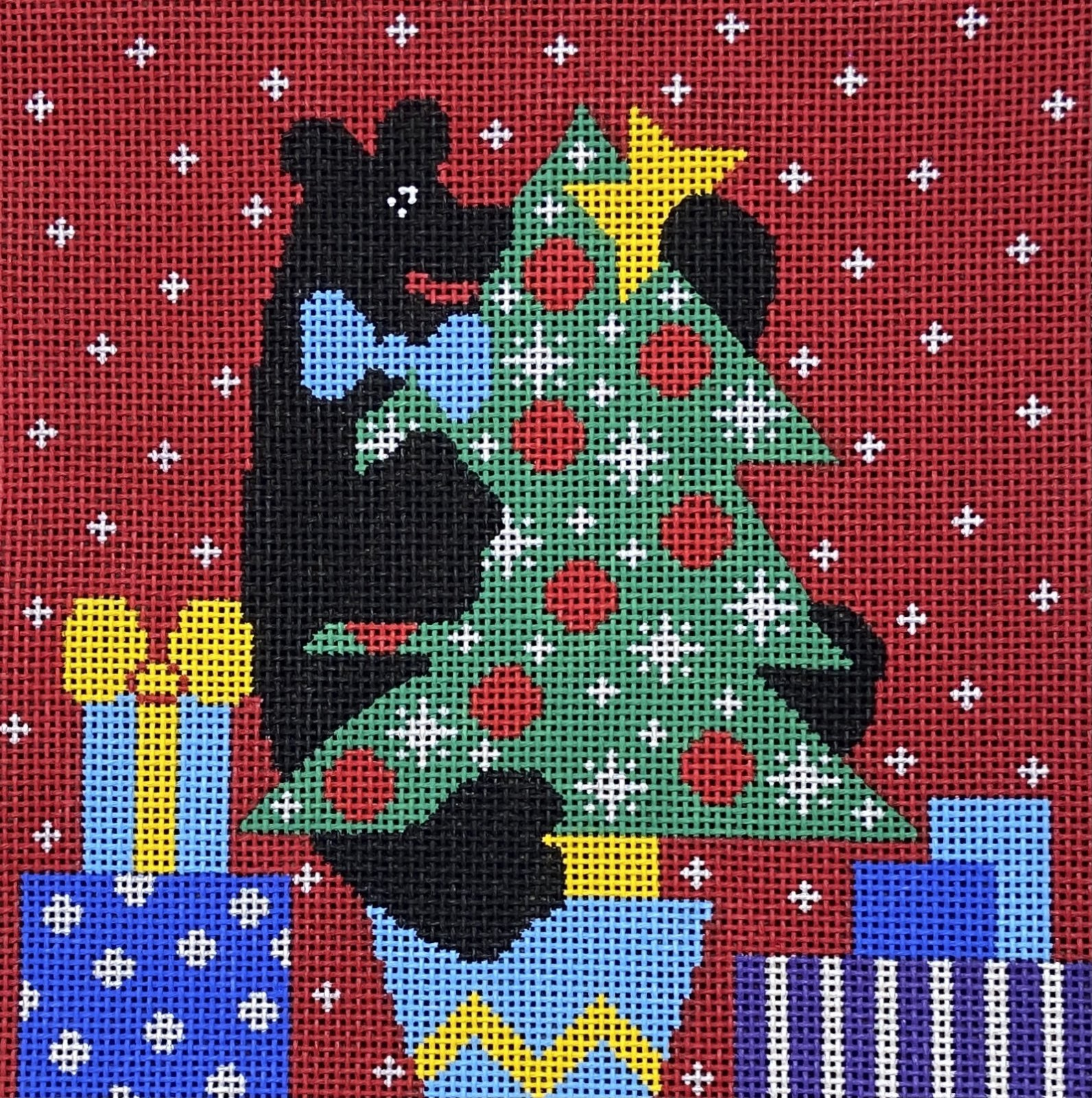 ALD8141 Bear In Christmas Tree Vallerie Needlepoint