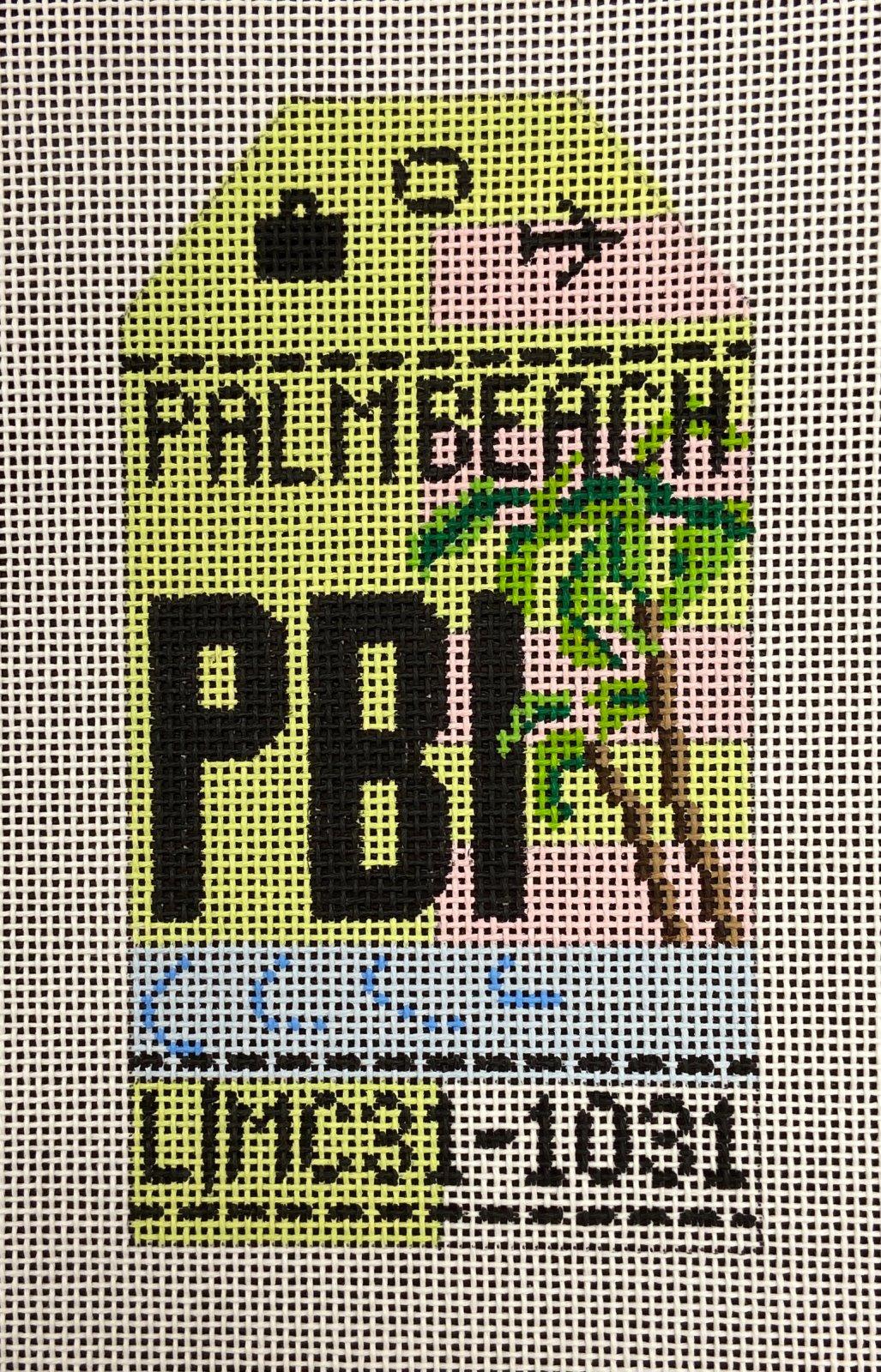 Retro Travel Tag Palm Beach International Hedgehog Needlepoint