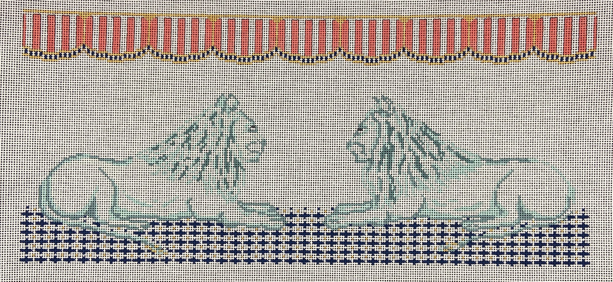 PS15II Staring Contest Lions Pillow Plum Stitchery