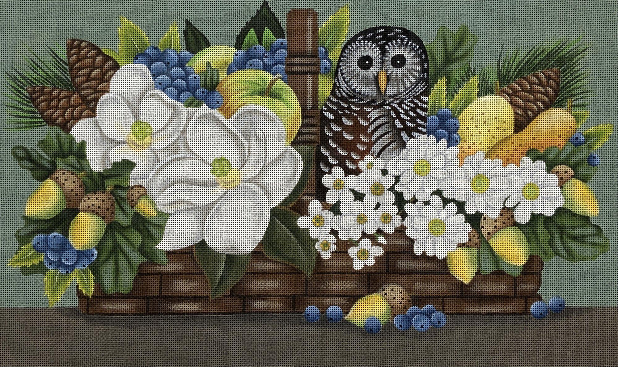 MS208BSP  Owl Basket Floral Pine Cones Melissa Shirley