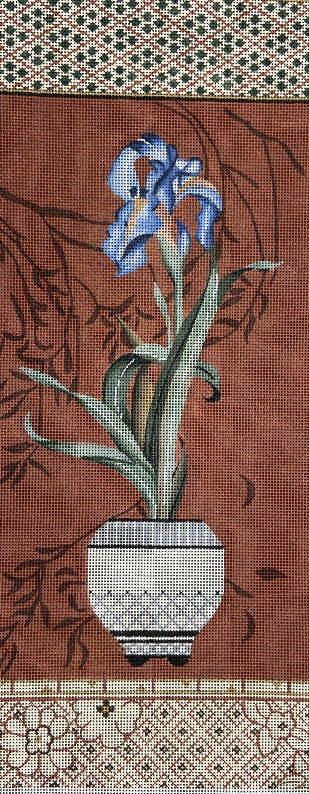 SC704 Japanese Iris on Brick Red Sofia Designs