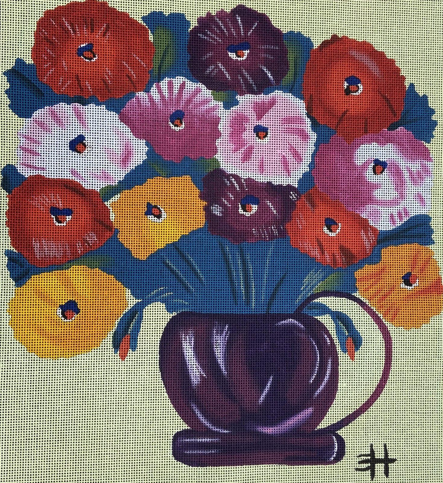 CH Zinnia Flowers in Purple Pot Quarter Stitch