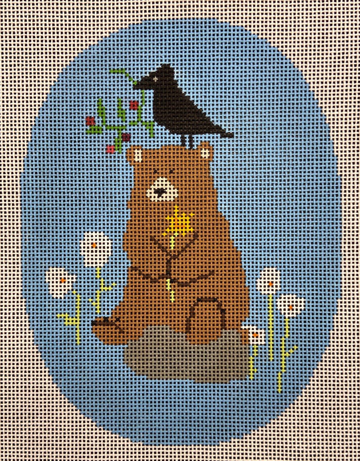 PET040 Meadow Bear Ornament Pippin JL Canvas Co