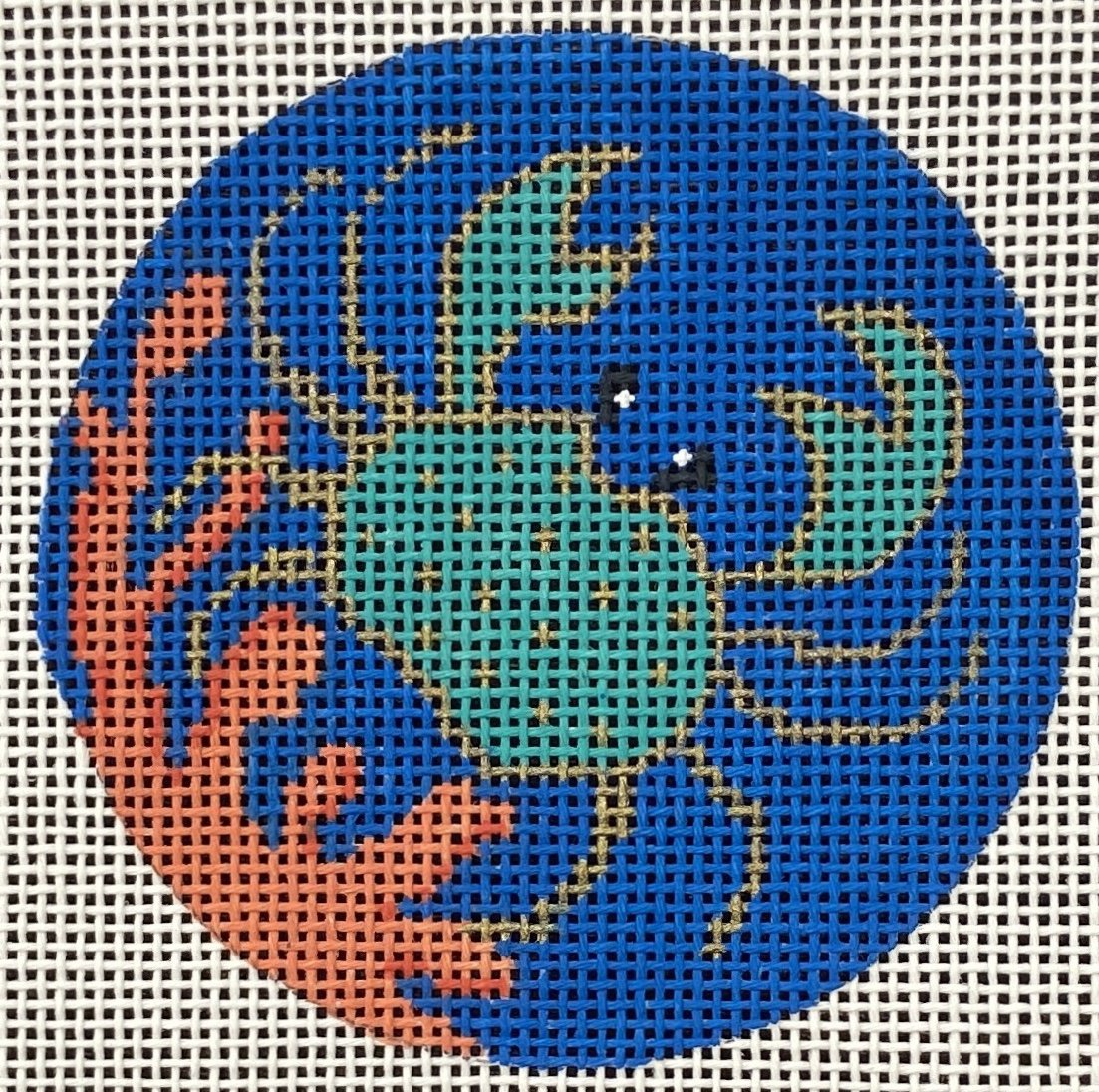 AL21020 Insert Crab on Coral Valerie Needlepoint Gallery