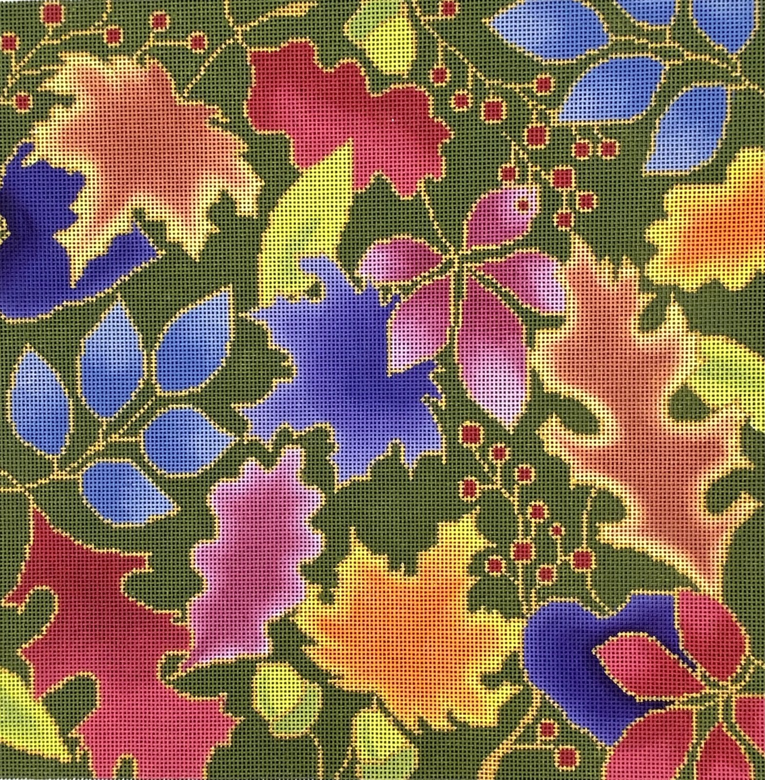 BSB512 Colorful Autumn Leaves Outlined with Gold
